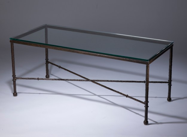 wrought iron 'simple' coffee table in brown bronze finish with glass