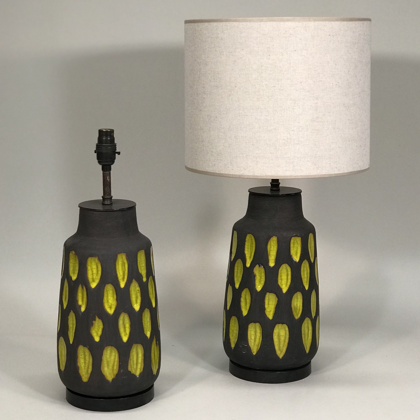 Pair Of Medium Mid Century Style Acid Yellow And Brown Ceramic Lamps On Brown Bronze Bases T5091 Tyson London Decorative Lighting And Furniture