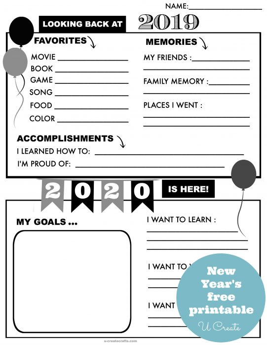 Free 2020 printable to ring in the New Year and make new goals!