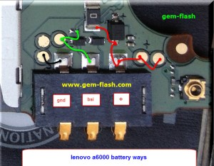 Lenovo A6000 Battery Connector Terminal Jumper Ways