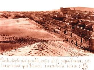 Dunes threatening the village of Guardamar, 1901