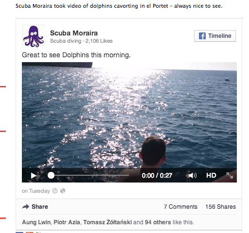 The result: Facebook video embedded in a post on our site