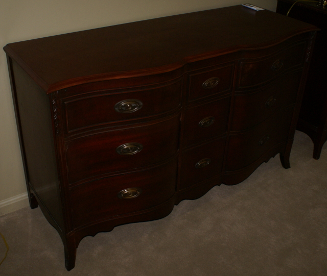 Dark Red Mahogany Double Dresser