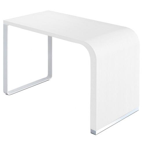 brunch table plateau laque blanc pietement chrome mat de la palma