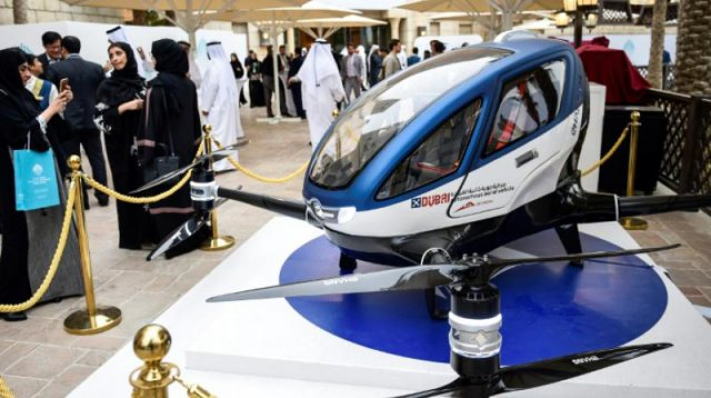 A model of the EHang 184 at the World Government Summit 2017 in Dubai's Madinat Jumeirah