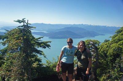 Summit photo on the top of St. Marks Peak, ocean views behind