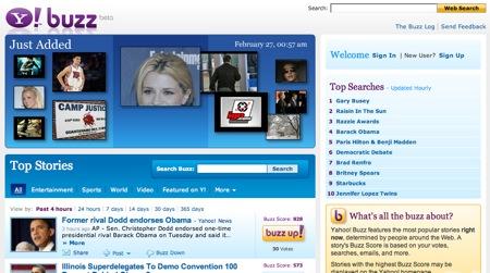 Yahoo Buzz: tendencias en busquedas de internet