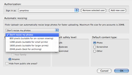 Opciones para subir a flickr