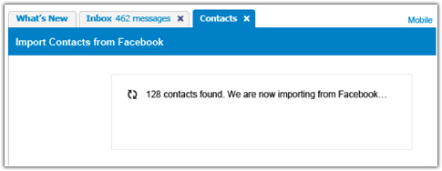 importar facebook en yahoo mail