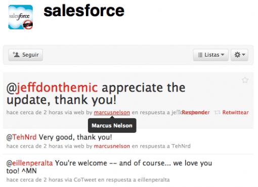 salesforce twitter empresas