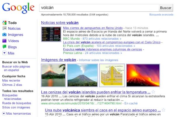 Resultados de Volcán en Google