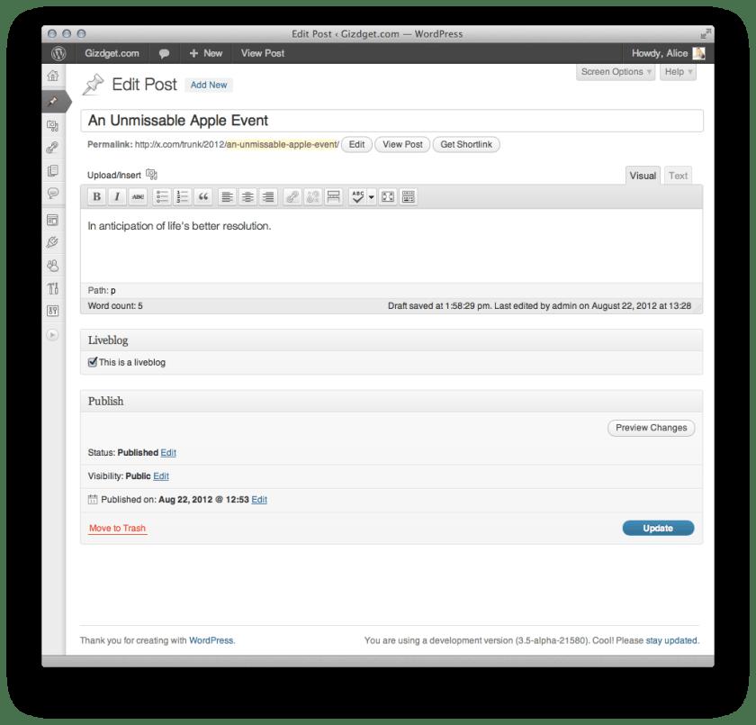 Interfaz del wordpress liveblog