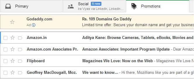 anuncios en Gmail promotions