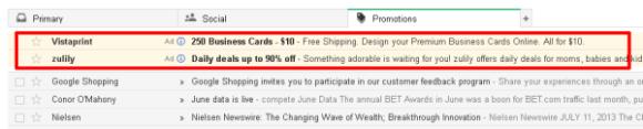Anuncios Gmail Inbox