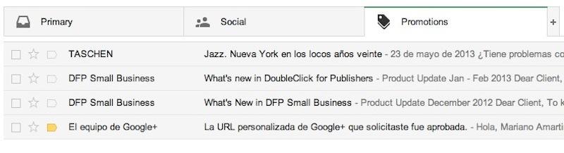 gmail inbox pestaña promociones