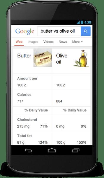 Google Hummingbird mobile  Butter v Olive Oil