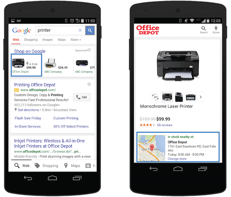 Google adwords tiendas fisicas Office Depot
