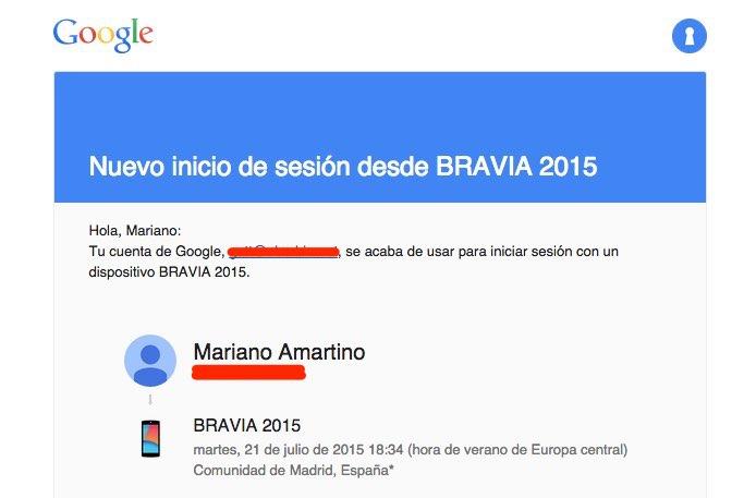 Android TV inicio de sesión desde BRAVIA