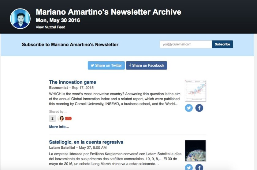 amartino newsletter nuzzel