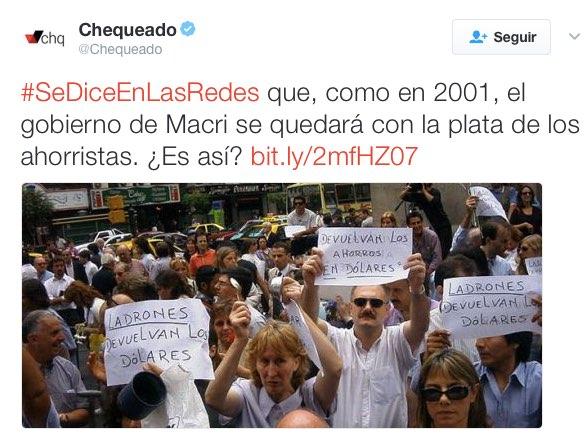 Tweet original de Chequeado