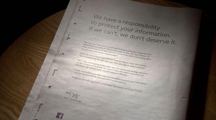 Facebook pide perdon de nuevo