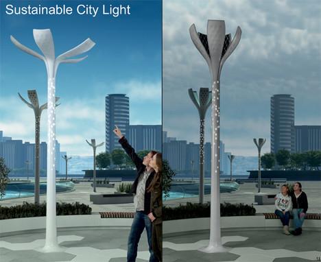 Concept lampadaires écologiques