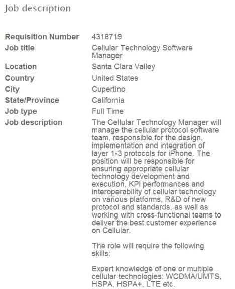 Une offre d'emploi chez Apple indique un futur iPhone LTE ?