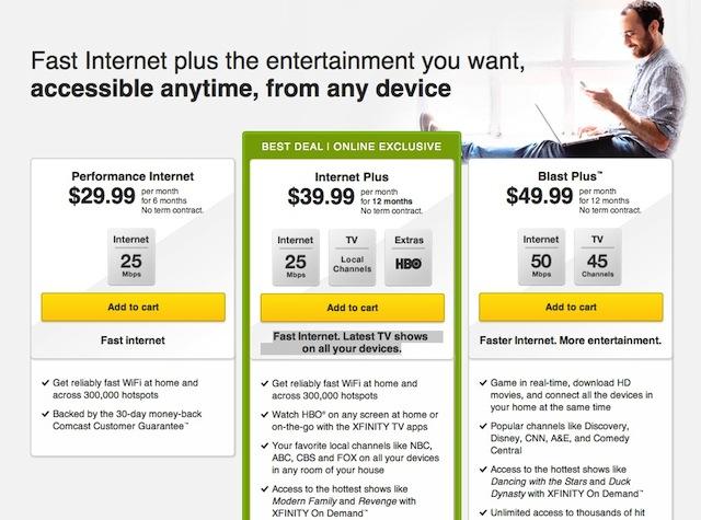 Comcast Internet Deals >> Comcast S Internet Plus Bundle Offers Internet Hbo For 40 Per Month