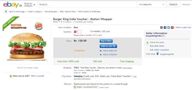 burger king ebay