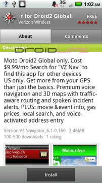 VZ Nav for Droid 2 Global