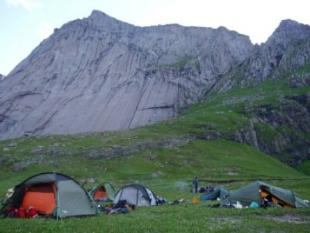 Our campsite and the giant slab behind, Alex Waldron