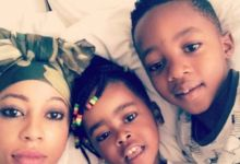 Photo of Kelly Khumalo Keeps Her Kids Busy By Getting Them To Sanitise Their Toys