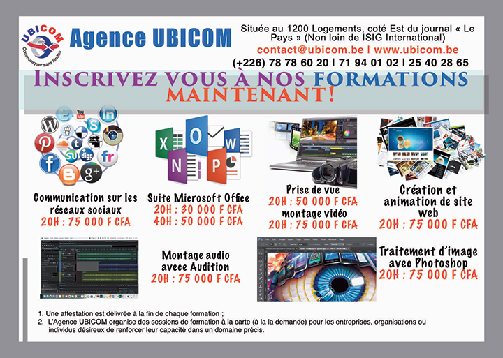 Inscriptions aux formations UBICOM 2018