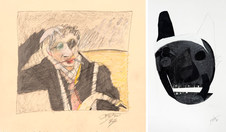 """untitled, man with hand behind his head; and """"Mortality Coyote Mask"""""""