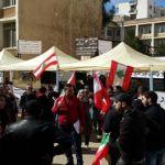طلاب خلال التحرك الاحتجاجي في ادارة الاعمال – طرابلس. (نعيم عصافيري)