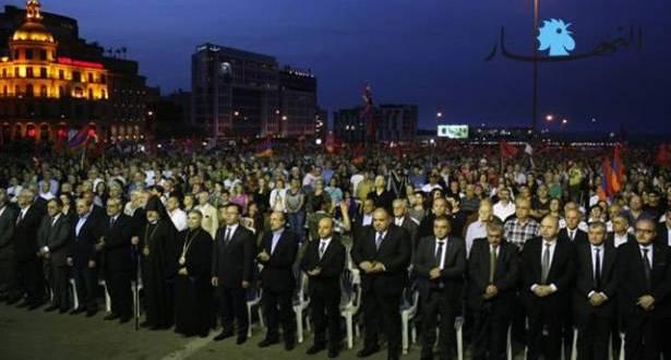 الأرمن أحيوا الذكرى الـ 101 للمجازر في ساحة الشهداء ونظموا تظاهرة إلى السفارة التركية ودشنوا نصباً تذكارياً