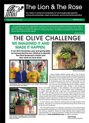 cover page of the summer 2016 newsletter