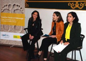 Ana López, Juana López y Fátima Guadamillas durante la presentación de la jornada