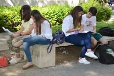 Un grupo de alumnos de Ciudad Real revisa sus apuntes antes del segundo de los exámenes