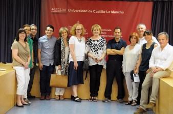 Representantes de la Texas State University, junto a la vicerrectora de Cultura, Deporte y Extensión Universitaria, María Ángeles Zurilla, y profesores del campus conquense