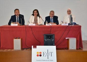 La vicerrectora con los profesores Luis Miguel P. Cañada (UCLM), Henri Awaiss y Rana El-Hakim (Universidad Saint Joseph, Líbano) en la apertura de los seminarios.