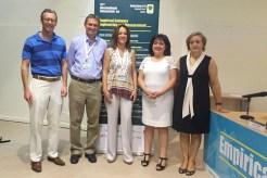 Peppard, Wholin, Genero, Gómez-Pimpollo y López Solera, en la Escuela Superior de Informática