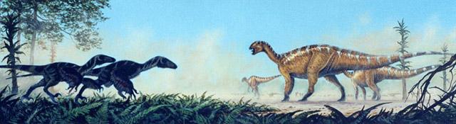 Two Deinonychus approach a Tenontosaurus herd, by Michael Skrepnick