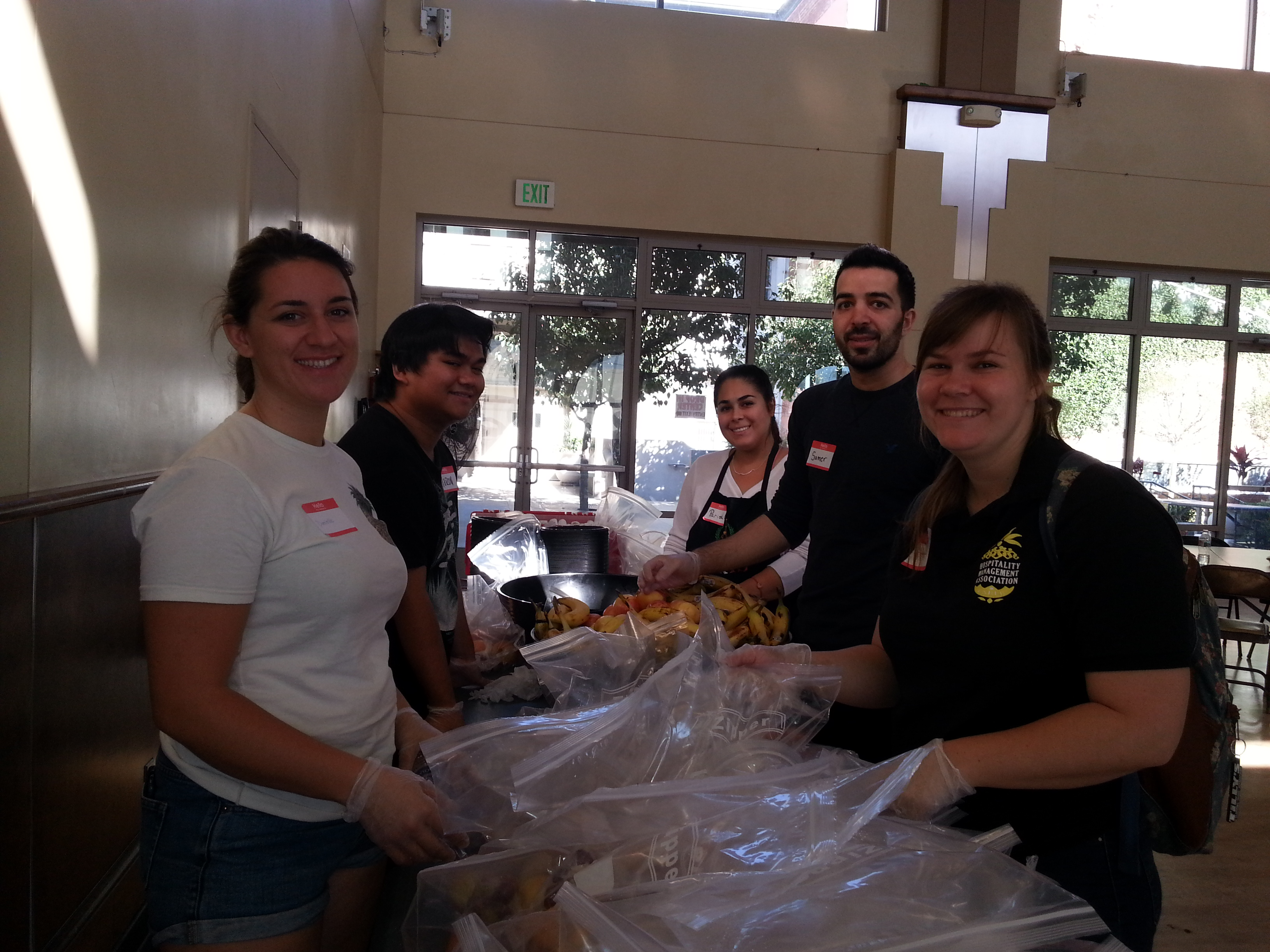 volunteers serving food
