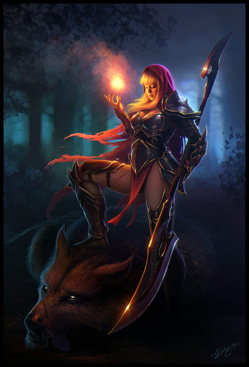 digital-painting-01-fiery-red-riding-hood