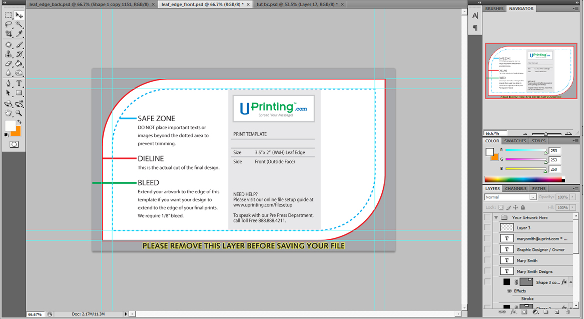 Ucreative a cool photoshop business card tutorial for print step 5 create the background for the front panel reheart Choice Image