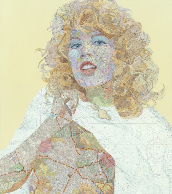 Shauna, 2011 Inlaid maps, acrylic, on panel by Matthew Cusick