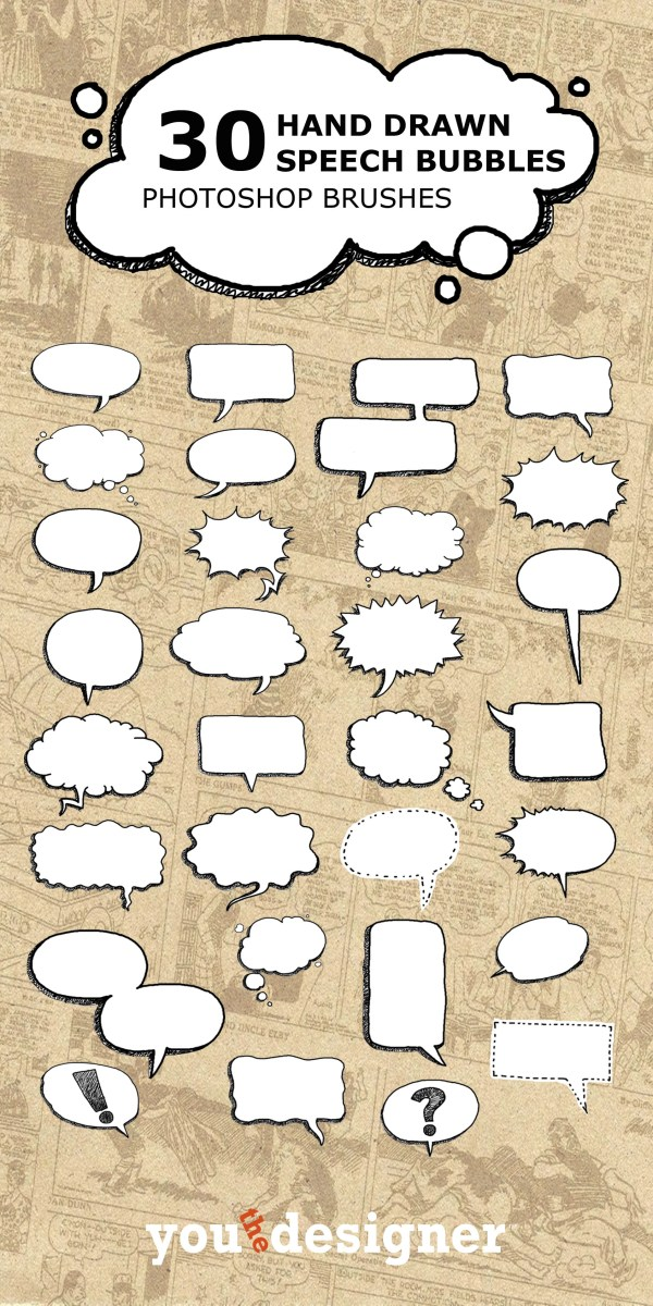 Hand Drawn Speech Bubble Brushes by You The Designer