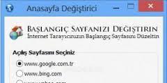 Ücretsiz Tarayıcı Anasayfa Değiştirme Programı