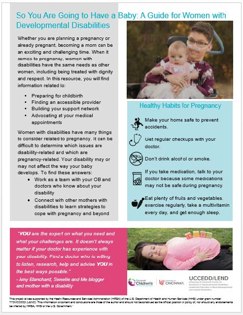 """This is a thumbnail of the fact sheet """"So you are going to have a baby: A guide for women with developmental disabilities"""""""